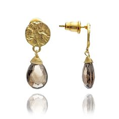 Athena Drop Stone Earrings: Smoky Quartz * Check out this great article. #Earrings