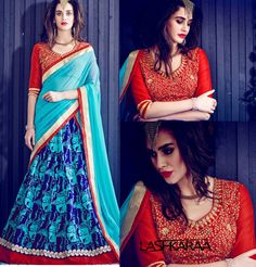 Blue and Red Bangalori Silk Lehenga Choli
