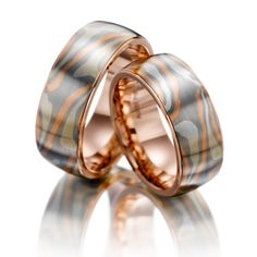 Mokume Gane wedding rings: Mokume Gane Red Gold 585/-, Silver 925/-, Palladium 500/- Basic Ring Red Gold 585/- Width: 8.00 - Height: 2.30. All wedding rings can be configured according to your specifications.