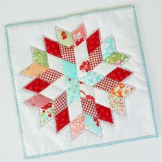 Block 268 - English paper-pieced Lonestar. The Fat Quarter Shop sew along is complete and this lonestar is hanging on my workroom wall.