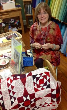 Jinny during Quilter's Quest 2015: In the Studio, we love greeting old friends and making new ones. I try to be at the door to greet all of our guests (I only take short breaks) throughout the Quest. I'm amazed at how far some of you travel!