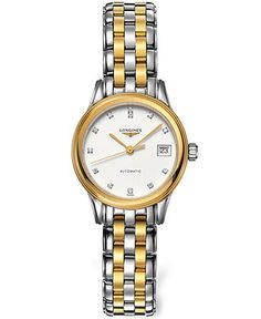 Longines Watch, Women's Swiss Automatic Flagship Diamond Accent Two Tone Stainless Steel Bracelet 26mm L42743277 - All Watches - Jewelry & Watches - Macy's