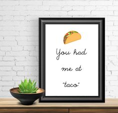 printable wall art kitchen art taco poster 8 x by SpellingBeeCards