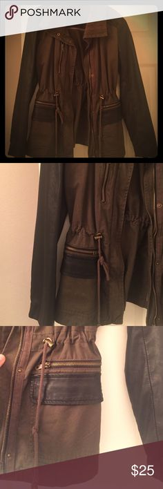 Cargo jacket Forever 21 cargo jacket with leather sleeve, super cute perfect for fall! Worn a few times Forever 21 Jackets & Coats Utility Jackets