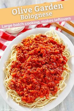 Bolognese is a hearty, rich, and classic sauce. Find out how to make the best Bolognese with this easy Olive Garden copycat recipe. This homemade sauce is made with ground beef, Italian sausage, vegetables, tomatoes, red wine, and fresh herbs. Serve this traditional sauce with your favorite pasta for a delicious meal. #bolognese #italianrecipe #groundbeefrecipes #copycat #copycatrecipes