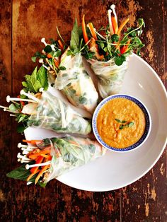 Grilled Thai Salad Rolls with Enoki Mushrooms & Peanut Sauce