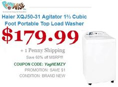 Save 60% Haier XQJ50-31 Agitator 1? Cubic Foot Portable Top Load   Washer Model XQJ50-31 https://www.pennywise.biz/deal-631-haier-xqj50-31-agitator-18532-cubic-foot-portable-top-load-washer Offer for today only..!!