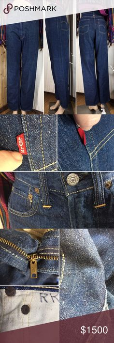 """True Vintage! 1950's Levi 701 High Waisted Jeans These are authentic true vintage big E 701 Levi Jeans from the 1950's. Featuring selvedge denim, hidden rivets, coin pocket in a lovely deep indigo. They are in excellent condition for their age with some minor piling, rust on the hidden rivets and someone's initials on one of the pockets. What an amazing piece of vintage history (that also makes your tush look stellar). Measurements (flat): waist: 12""""; inseam: 30.5""""; hips: 17""""; waist to…"""