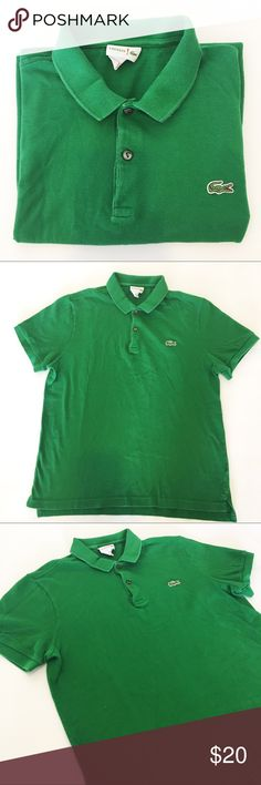 """Men's Lacoste Green Polo Shirt Sz 4 Men's Lacoste green polo shirt in size 4. 100% cotton. Lacoste Red! Collection label partnered with Jeffrey Kalinski. In good condition, comes from smoke and pet free home. (B) (E) Flat lay measurements: Chest: 20"""" Length: about 25"""" Lacoste Shirts Polos"""