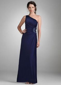 David's Bridal Bridesmaid Dresses One Shoulder Evening Gown with Beaded Detail Style 260160D. Bridesmaids dresses.