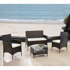 4 Piece Patio Deep Seating Group with Cushions Espresso  with free ebook by GSM ** This is an Amazon Associate's Pin. Click the image to visit the Amazon website.
