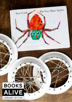 """From Eric Carle (The Very Hungry Caterpillar) this is """"The Very Busy Spider"""" and here's a fun project to do with your kiddos after reading it #booksalive"""