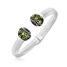 Sterling Silver Open Bangle with Amethyst and Peridot Stones