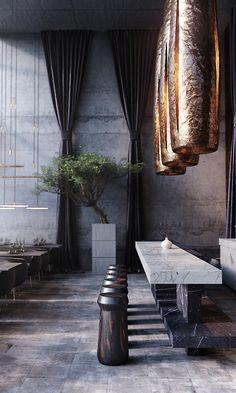 v e n e r a project on Behance Home Room Design, Home Interior Design, Interior Decorating, Interior Ideas, Luxury Homes Interior, Interior Exterior, Cafe Restaurant, Restaurant Design, Amazing Architecture