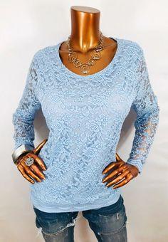 596896cc5 Chico's 2 or L Top Lace Floral Stretch Blouse Shirt Long Sl Crew Light Blue