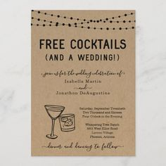 Funny Free Cocktails and a Wedding Invitation Funny Wedding Invitations, Wedding Invitation Size, Custom Invitations, Invitation Ideas, Invites, Cocktail Theme, Song Request, Wedding Humor, Wedding Stuff