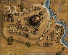 Kelmarane Map by jingobingonfinky on DeviantArt Medieval, Dark Sun, Fantasy City Map, Fantasy Town, Plan Ville, Desert Map, Pathfinder Maps, Pen & Paper, Village Map