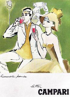 Vintage Italian Posters ~ #illustrator #Italian #posters ~ Illustration by Franz Marangolo, 1960's, Campari.