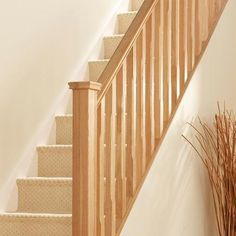 Stair Spindle #Spindle #Stair Oak Banister, Staircase Spindles, Wooden  Staircases, Oak