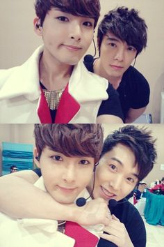 Super Junior's Ryeowook snaps a photo with Donghae and Sungmin