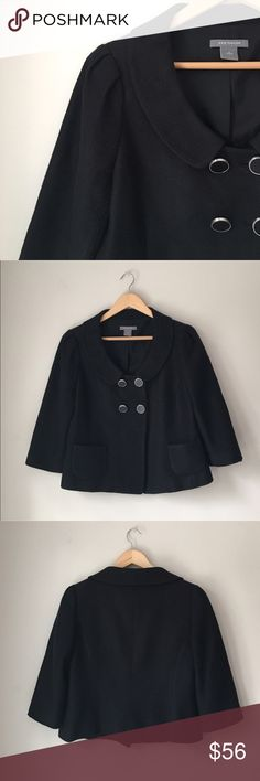 Ann Taylor Black Textured Peter Pan Collar Jacket Gorgeous black textured double breasted Peter Pan collar jacket by Ann Taylor. Two front open pockets. Size 4. Excellent preowned condition. Ann Taylor Jackets & Coats