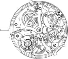 Technical drawing via Gear Drawing, Watch Drawing, Gear Tattoo, Steampunk Watch, Steampunk Weapons, Watch Gears, Technical Drawing, Art Plastique, Colouring Pages