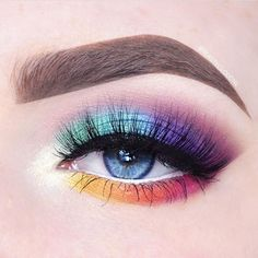 Rainbow colors are oh so fun! Featuring Makeup Geek Eyeshadows in White Lies, Curfew, Lemon Drop, Poppy, Fashion Addict, Fantasy, Pegasus, Caitlin Rose, and Voltage. Look by: @beautycloudnl #fantasymakeup