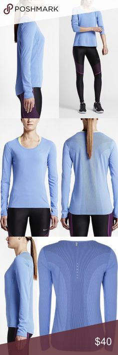 Nike Dri-FIT Contour Women's Running Shirt Breathability where you need it most and features an ergonomic design to help you run comfortably anywhere. A Dri-FIT mesh panel in the middle back is knit from loose to tight with three different textures for varying degrees of cooling. Ergonomic seams are rolled forward for comfort and the body-mapped design enhances range of motion. Dri-FIT fabric helps you dry by wicking away sweat Reflective media-player cord at upper back. Dri-FIT 60%…