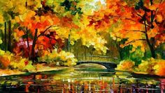 Little Bridge Pallete Knife Original Recreation Oil Painting on Canvas By Leonid Afremov by AfremovArt, http://www.amazon.com/dp/B0091UMQDY/ref=cm_sw_r_pi_dp_3xhzrb0PE84TE