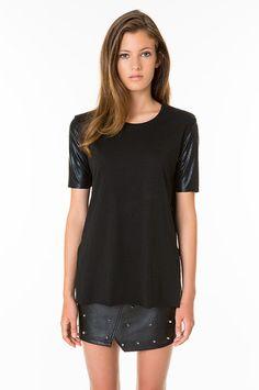KNITTED FASHION T-SHIRTS, Black, XL