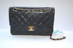 """CHANEL FOR $2 at Lollipuff.com! Vintage Chanel 2.55 9"""" Black Lambskin Double Flap Bag with Gold Hardware"""