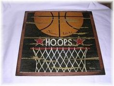 Hoops Basketball Wooden Sports Wall Art Sign Boys Bedroom Decor on Etsy, $14.99