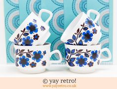 Floral Staffordshire Pottery Cups - Retro and Vintage China, Glassware and Kitchenalia - yay retro!