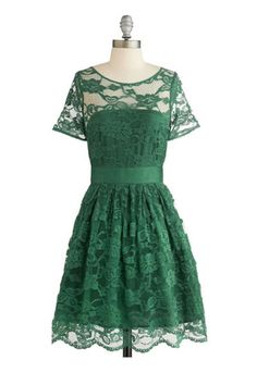 Emerald Lace BB Dakota Adrift on a Cloud Dress in Emerald, $99.99, modcloth.com