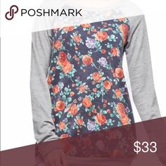 Heather Top French terry floral print sweatshirt, with light grey sleeves. This top runs true to size with a loose fit.  Small (0-5) medium (6-9) large (10-13) Tops Sweatshirts & Hoodies