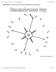 This Poppy connect the dots page features a dot to dot puzzle for Anzac Day. This activity worksheet helps kids practice connecting the dots, counting by (Connect . The page is printable and can be used in the classroom or at home. Remembrance Day Pictures, Remembrance Day Activities, Remembrance Day Art, Veterans Day Activities, Holiday Activities, Kindergarten Activities, Preschool Curriculum, Homeschool, Dot To Dot Puzzles