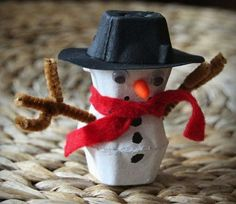 egg carton snowman, Cool Snowman Crafts for Christmas, - Crafting For Holidays Egg Carton Art, Egg Carton Crafts, Egg Cartons, Christmas Projects, Winter Christmas, Kids Christmas, Christmas 2017, Snowman Crafts, Holiday Crafts