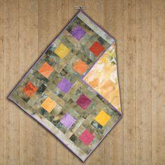 Handmade cotton quilted baby blanket hand-dyed by ScrappieGirlz