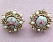 Vintage Rose Stone Clip On Earrings