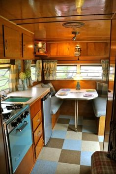 vintage camper interiors |nice colors with the wood: