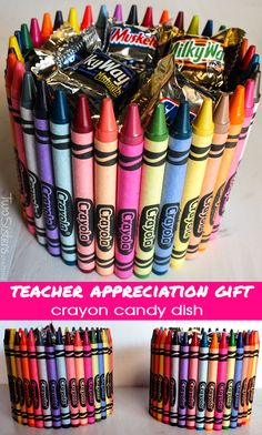 We have step by step directions for making this adorable and easy to make Crayon Candy Dish that is perfect for a Teacher Appreciation Gift or an end of the year Teacher Gift.. For more fun Teacher Gift ideas, follow us on Pinterest.
