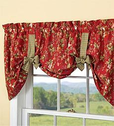 Tie-Up Floral Cotton Window Valance with Contrasting Ties