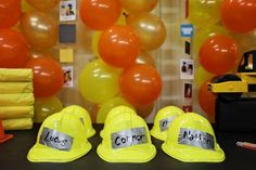 Construction Party Ideas. Hard hats for all the kids with their names written on duct tape. Perfect for a construction birthday party! #construction #birthday