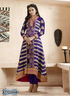 Beguiling Purple Coloured Georgette and Velvet Anarkali Salwar Suit
