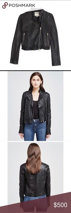 L'agence Leather Jacket Leather Devon Moto jacket with zip details along the collar and an asymmetric two-way zipper closure. Slim fit with side zip pockets and zip cuffs.  Size 2. Brand new, never worn before. NWOT I accept offers! L'agence Jackets & Coats