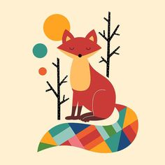 """Rainbow Fox """" To be a special one : ) """" #fun #fox #art #love #painting #draw #pencil #watercolor #sketch #gallery #picture #landscape #nature #design #graphic #vector #digitalart #typography #creative #colors #image #life #cool #girl #friends #beautiful #style #cute #kids #手繪 by andywestface"""