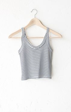 "- Description Details: Striped ribbed cami crop top in white/black with v-neckline. Form fitting, tend to run on the smaller side & are more fitted. Measurements (Size Guide): S: 24"" bust, 15.5"" lengt"