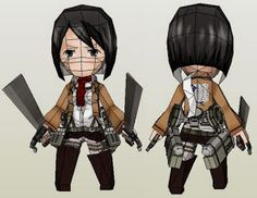 Attack On Titan - Mikasa Ackerman Paper Toy In Chibi Style - by Paper Juke - == - From Attack On Titan (Shingeki No Kyojin), Japanese anime, here is Mikasa Ackerman, one of the main characters of the anime, in a cool paper model version in Chibi style, created by French designer Metal Heart, from Paper Juke website.