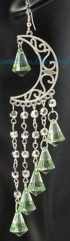 NEW!! Silver Crescent Long Light Green Crystal Beads Tassels Dangle Earrings – $6