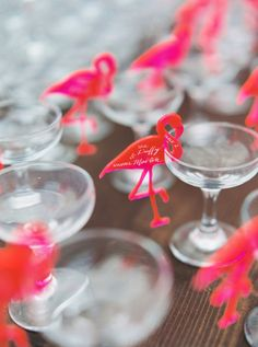Flamingo + champagne glass escort cards: http://www.stylemepretty.com/little-black-book-blog/2016/07/13/soap-opera-stars-wedding-better-than-any-daytime-tv-love-story/ | Photography: Sarah Kate - http://sarahkatephoto.com/